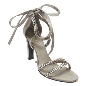 Gucci Grey Satin and Rhinestone Formal shoes